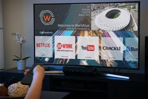 World Cinema, hand with remote pointed at TV screen